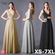 Plus Size Glitter Evening Dress Long Stretchy A Line V Neck Sleeveless Rufflers Formal Wedding Guest Gown Party Robe De Soiree
