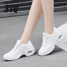 STQ 2020 Autumn Women Sneakers Shoes Flat Lace up Platform Sneakers For Women Black Breathable Mesh Sock Sneakers Shoes 19182
