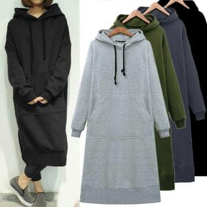 Women Loose Long Hoodie Casual Solid Color Hooded Sweatshirts Student's Autumn Winter Baggy Pullover Oversized Sweatshirt Dress
