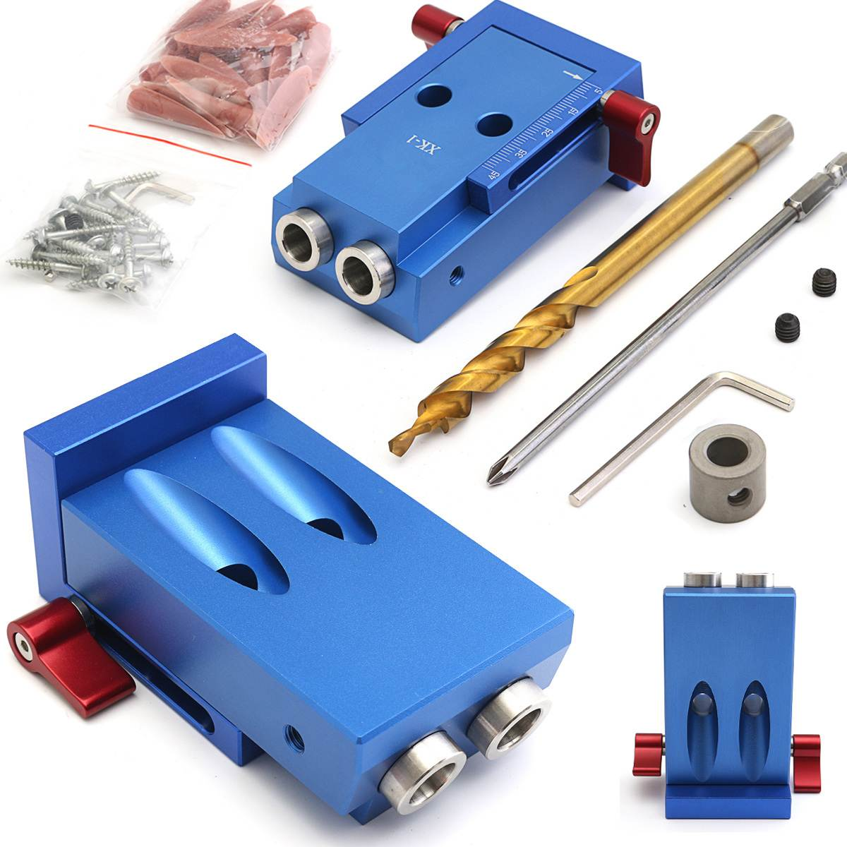 Mini Style Pocket Slant Hole Jig Kit + Step Drilling Bit Wood Work Tool Set