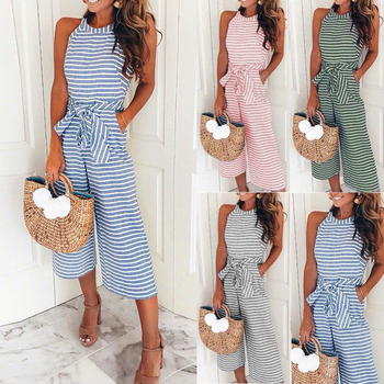 Halter Striped Print Wide Leg Jumpsuit Lace Up Bowknot Pocket Sleeveless Rompers Loose O-neck Plus Size Office Female Overalls cut out neck wide leg halter jumpsuit