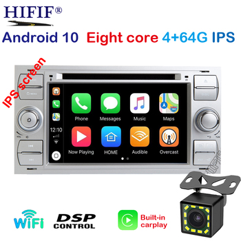 IPS Car Multimedia Player GPS Android10 2 Din For Ford/Mondeo/Focus/Transit/C-MAX Auto Radio Bluetooth DVR Autoradio DSP DVD DVR image