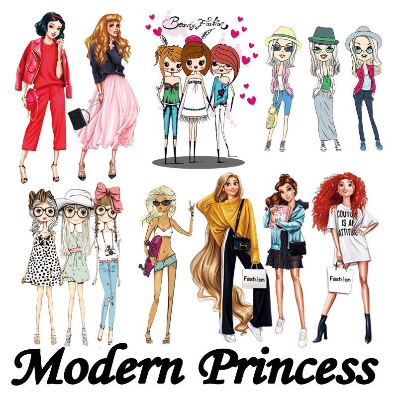 Современные термонаклейки для девочек, термонаклейки для одежды, платьев, стирающиеся наклейки для футболок с аппликацией