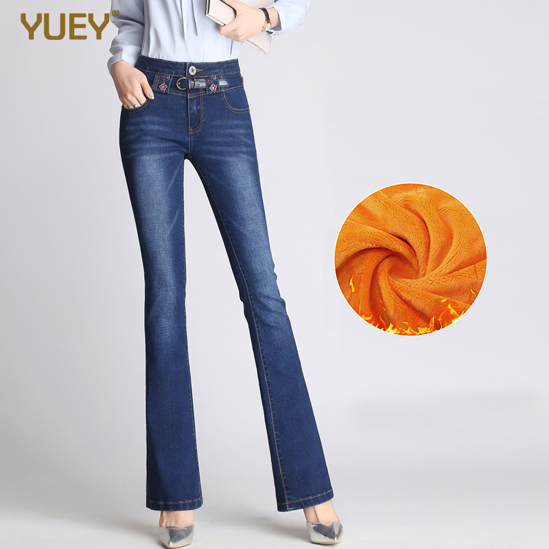 2019 Womens Stretch Thicken Plus Size Flared Jeans With Hot Lining Velvet Winter Embroidery High Waist Slim Warm Jeans S 5XL
