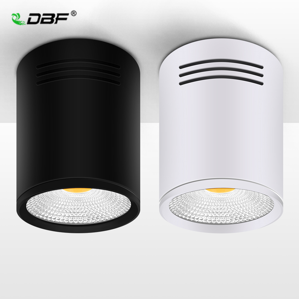 DBF Dimmable LED COB Surface Mounted Downlight 3W 5W 7W 10W 12W 15W White Black Housing AC85-265V Ceiling Spot Light Home Decor