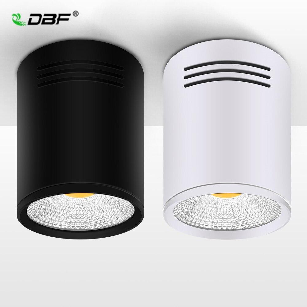 [DBF] kısılabilir LED koçanı yüzeye monte Downlight 3W/5W/7W/10W/12W/15W beyaz/siyah konut AC85-265V tavan Spot ışık ev dekor