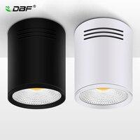 [Dbf] pode ser escurecido led cob superfície montada downlight 3 w/5 w/7 w/10 w/12 w/15 w branco/preto habitação AC85 265V luz do ponto de teto decoração da casa|surface mounted downlight|ceiling spot|surface mounted -