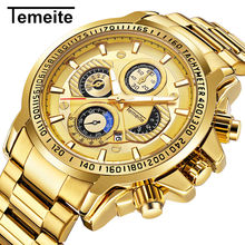 TEMEITE Golden Men Watch Calendar Stainless Steel Quartz Wristwatch Men's Luminous Big Watches Top Brand Luxury Clock for Male(China)