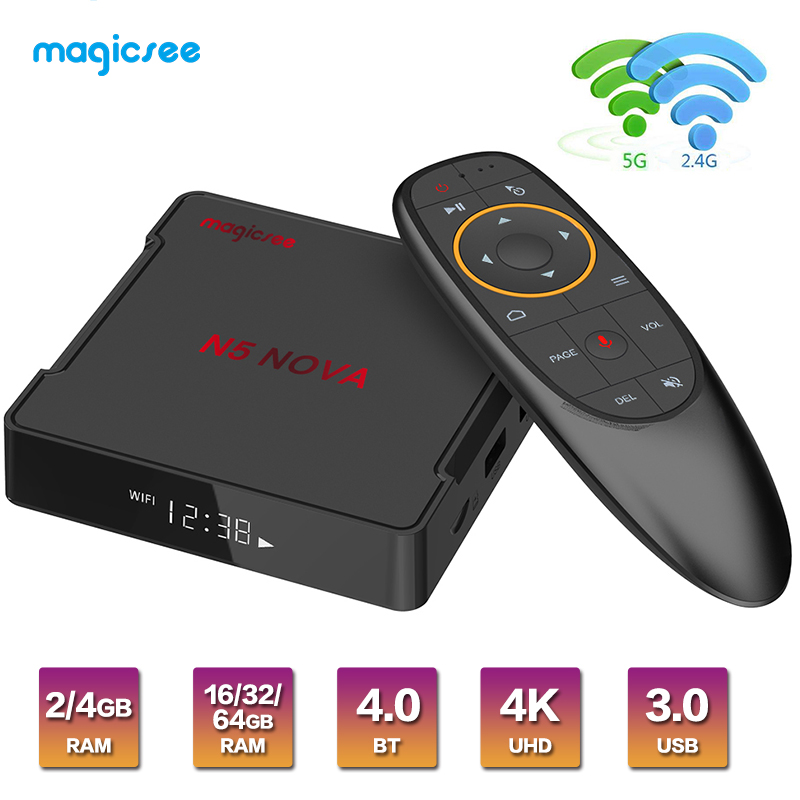 Magicsee N5 NOVA <font><b>Android</b></font> 9.0 <font><b>TV</b></font> <font><b>BOX</b></font> RK3318 4G 32G/64G Rom 2,4 + 5G Dual wiFi Bluetooth4.0 Smart <font><b>Box</b></font> 4K <font><b>Set</b></font> <font><b>Top</b></font> <font><b>Box</b></font> mit Air Maus image