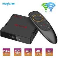 Magicsee n5 nova android 9.0 caixa de tv rk3318 4g 32g/64g rom 2.4 + 5g duplo wifi bluetooth4.0 smart box 4 k conjunto caixa superior com rato de ar