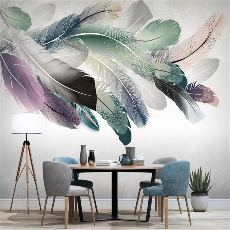 Large 3D Wallpaper Mural Custom Hand-painted Small Fresh Nordic Color Feather TV Sofa Background Wallpaper Mural