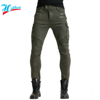 2019 New Khaki Motorcycle Pants Black Men Moto Jeans Zipper Protective Gear Blue Motorbike Trousers Motocross Pants Moto Pants - Hi-07 Green O, M