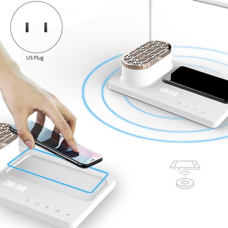 Новый светодиодный аудио настольная лампа умный дом Маяк многофункциональная Настольная лампа с беспроводным зарядным устройством и ... - 2