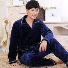 Зимняя Толстая теплая Фланелевая Пижама для мужчин, пижама, домашняя одежда, коралловый флис, теплая Пижама