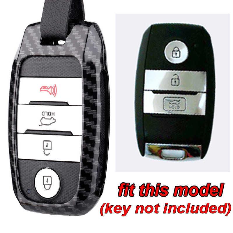Funda de fibra de carbono negra para llave de coche para Kia Picanto Forte K2K3K4K5 protección