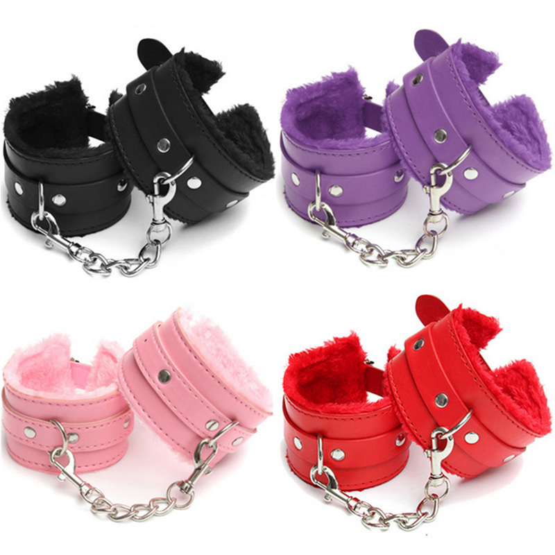 Erotic Accessories Adjustable PU Leather Plush Handcuffs Ankle Cuff Flirting BDSM Bondage Restraints Slave Sex Toys For Woman