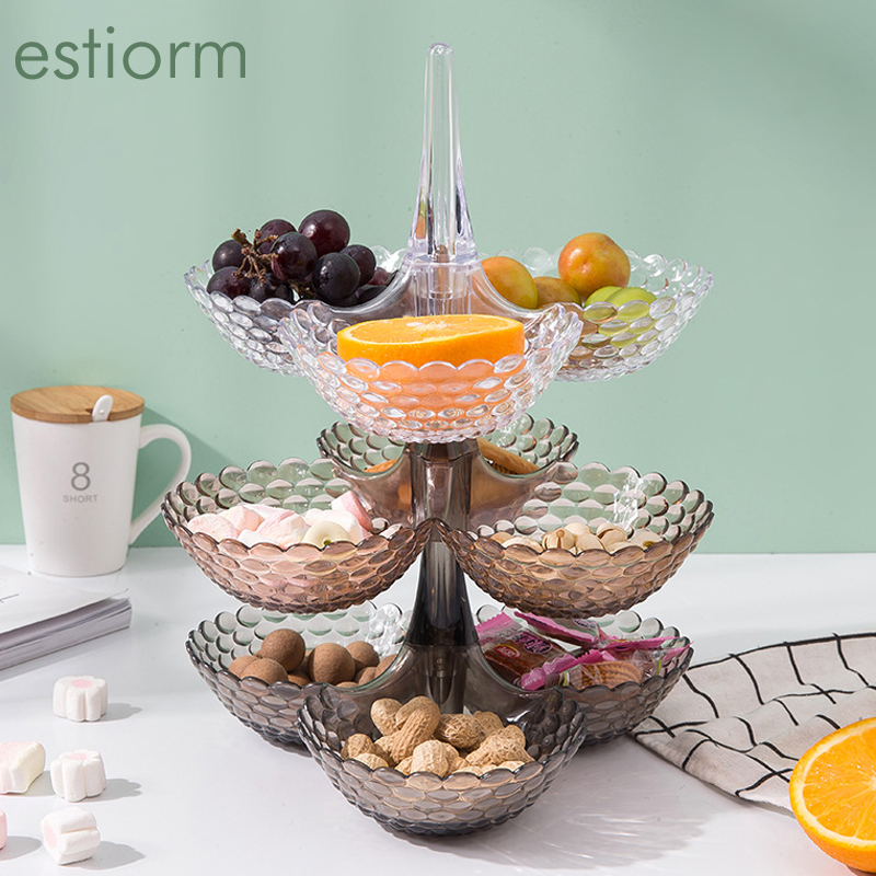 1/2/3 layer Snack plate, Plastic Sectional Snack Serving Tray,  Stackable dried fruit plate, Nut Candy Serving Bowls for party