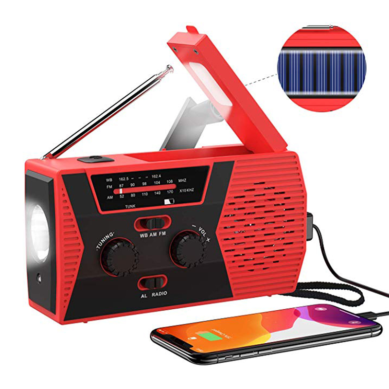 Emergency Solar Hand Crank Radio Portable Weather Radio Outdoor Household LED Flashlight Power Bank USB Charger Read Lamp