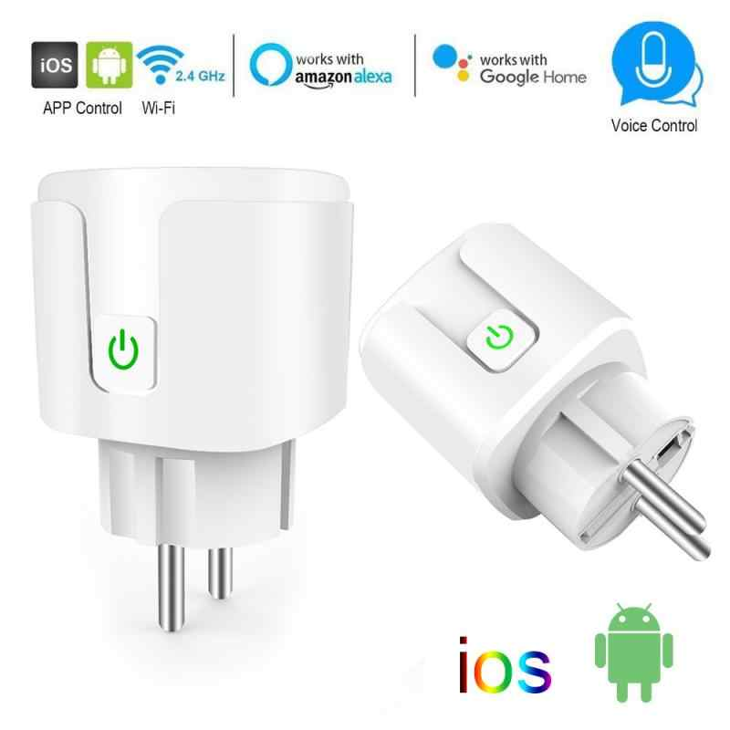 10A/16A Wifi Smart Plug dengan Power Monitor Wifi Wireless Smart Socket Outlet dengan Alexa Amazon Google Home Alexa kontrol Suara