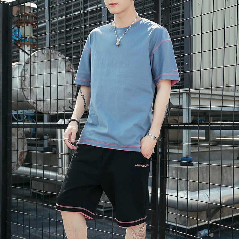 Красивые мужские летние футболки с коротким рукавом, хип-хоп топы, костюм, комплект мужской спортивной одежды, мужская одежда