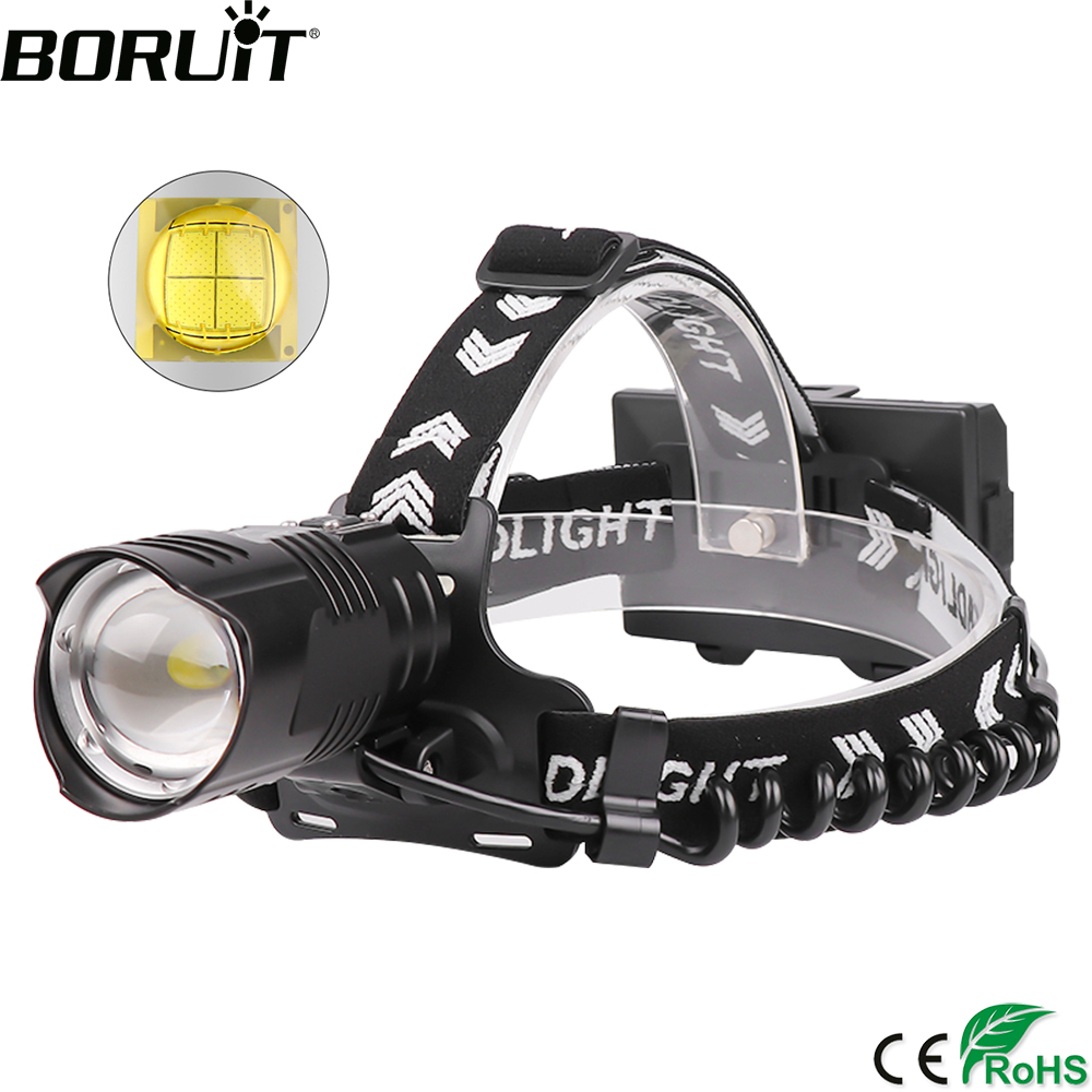 BORUiT XHP90 2 LED Powerful Headlamp 5000LM 3-Mode Zoom Headlight Rechargeable 18650 Power Bank Waterproof Camping Head Torch