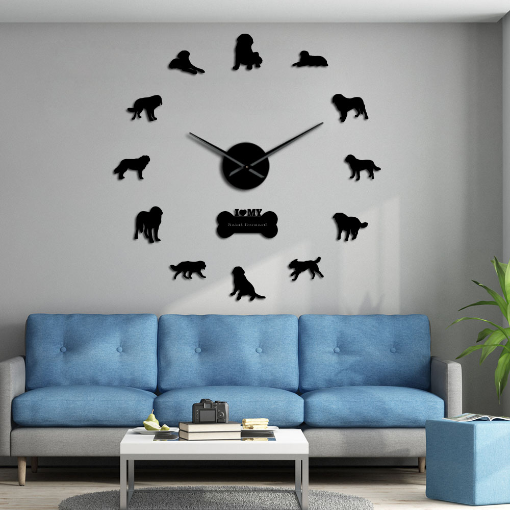 Saint Bernard Dog Self Adhesive DIY 3D Wall Clock Alpine Mastiff Quartz Acrylic Mirror St. Bernard Doggie Pet Big Needles Saat