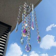 H & D lustre éolien à suspension avec revêtement AB en cristal, prismes suspendus, arc en ciel, chasseur, rideaux de fenêtre, pendentif, cadeaux pour la décoration de la maison