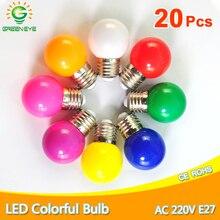 20 個led電球ランプbomlillas E27 ledライトランパーダアンプルカラフルな 3 ワットac 220 12v smd 2835 懐中電灯g45 グローブ電球家の装飾