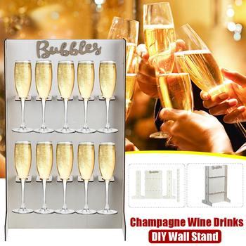 Szampan wino napoje uchwyt naścienny uchwyt regał drewniany urodziny wesele dekoracja szampana wino napoje stojak uchwyt tanie i dobre opinie CN (pochodzenie) Drewna approx 55x34 4x25cm 21 66x13 55x9 85 Champagne Wine Drinks Wall Stand 100 Brand New