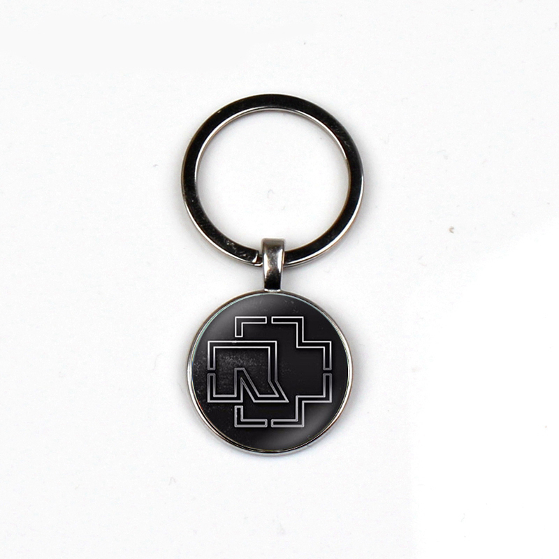 Fashion Rammstein Keychain Music Band Logo Personality Pattern Glass Dome Alloy Key Chain Rock Hip Hop Keyring Ladies Men Gifts