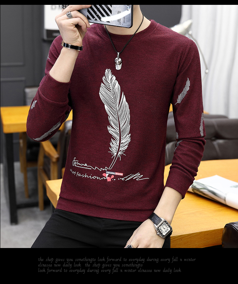 H280c8be22460439f900ddc30628f902at CO 2019 men long sleeve printed fleece New age season round collar fleece youth trend