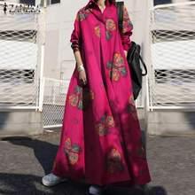 Long-Dress Vestidos Floral-Printed Vintage Autumn Zanzea Women Plus-Size Loose Maxi Neck