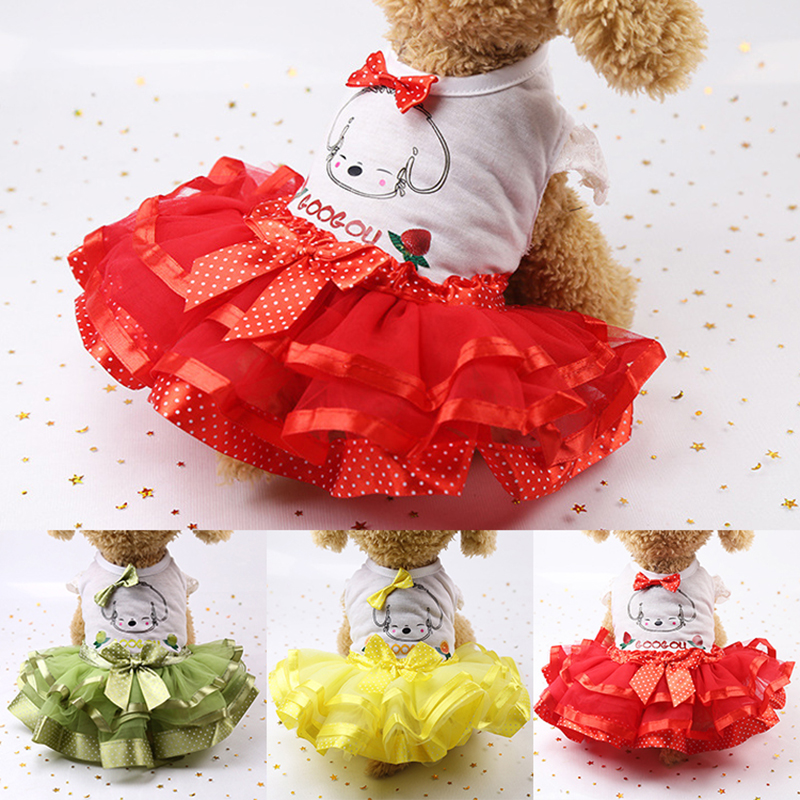 Spring Summer Dog Wedding Dress Pet Dog Clothes for Small Dog Sweet Puppy Clothing Skirt Pet Clothes Lace Bow Dog Dress XS-XXL 1