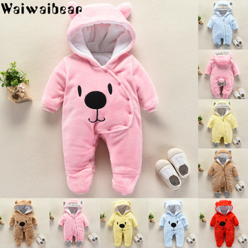 Newborn Rompers Baby Winter Flannel Thick Overalls Boys & Girl Autumn Warm Hooded Jumpsuit Fashion Infant Wear Kid Climb Clothes winter newborn rompers baby girls boys cotton infant hooded warm overalls clothes kids high quality cartoon jumpsuit outerwear