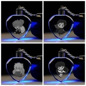 Inuyasha s versiyonu kalp şeklinde Anime LED anahtar zincirleri anahtarlık kristal oyuncak ışıklı anahtarlık anahtarlık Unisex hediyeler