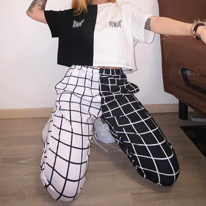 Frauen Patchwork Plaid Jogger Hosen Kontrast Farbe Hohe Taille Elastische Sport Hosen Weibliche Sommer Casual Mode Damen Jogginghose