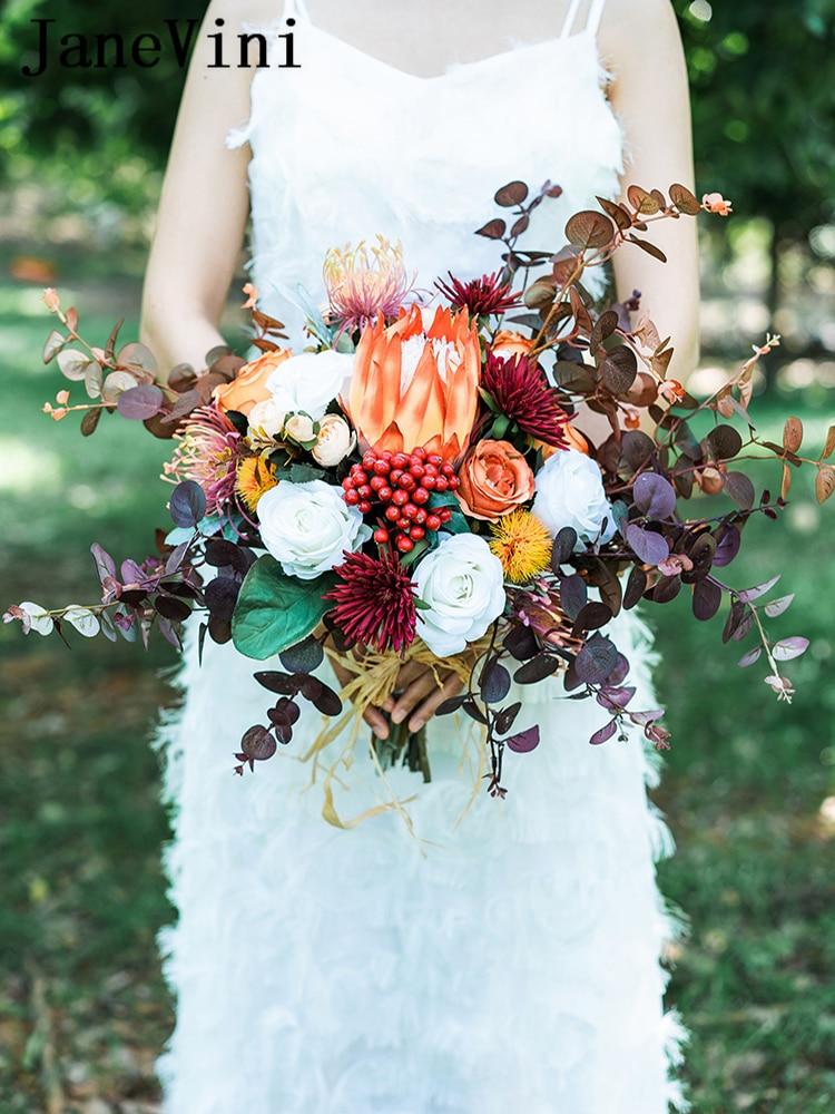 JaneVini Charming Wedding Emperor Flower Bouquet Artificial Silk White Peony Eucalyptus Leaf Autumn Wedding Bouquet Accessories