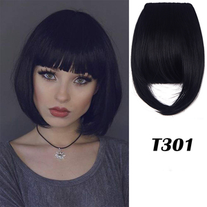 womens Clip In Bangs Hair Extensions One Piece Front Neat Hair Fringe Straight Flat Bangs Clip on Hairpiece for Women