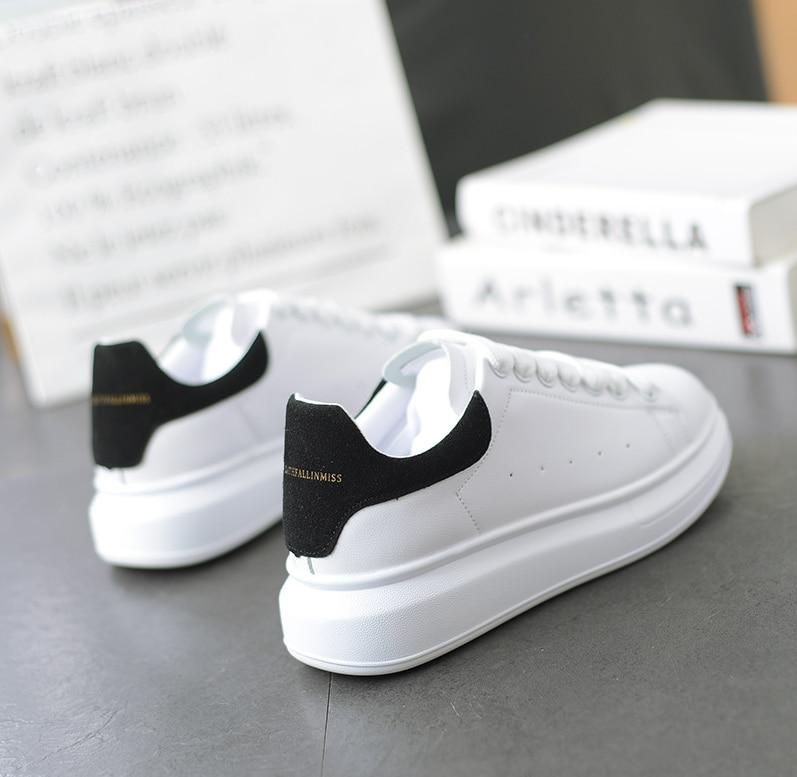 Hot Men's White Sneakers Women's Fashion Vulcanize Shoes Size 36-44 High Quality HIP HOP Shoes Platform Lace-up Running Shoe
