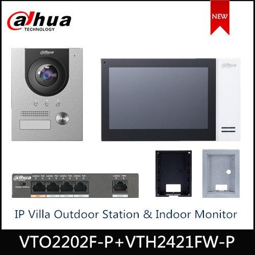 Dahua VTO2202F-P VTH2421FW-P IP Villa estación al aire libre Monitor de interior IP Kit timbre apoyo POE video timbre accesorio
