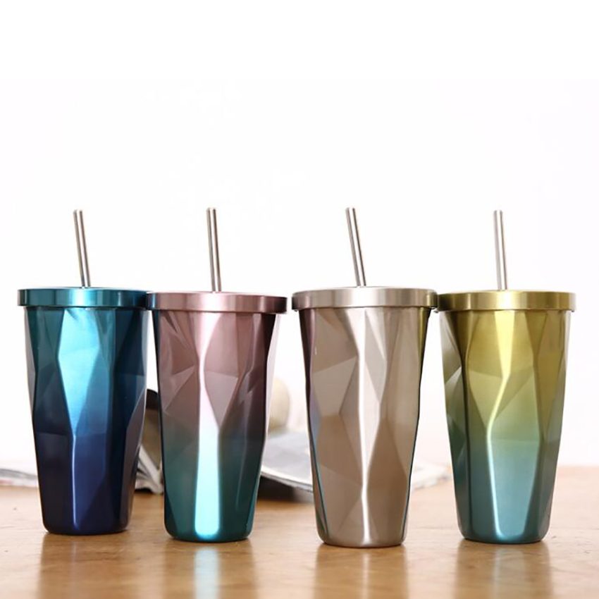 Gradient Classic Coffee Tumbler with Straw Lid 500ml Double Wall Stainless Steel Water Bottle Travel Coffee Beer Pint Cup