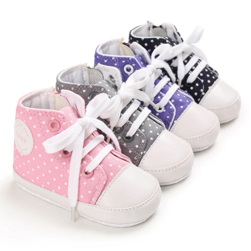 Baby Boys Girls Polka Dot Anti-Slip Shoes Sneakers Soft Soled Walking Lace-Up Shoes First Walkers