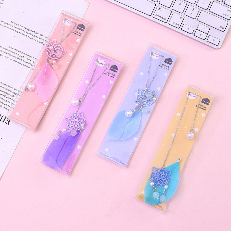 Creative Pearl Pendant Book Mark Cute Feather Cat Bookmarks For Book Kids Girls Gift School Office Supplies Korean Stationery