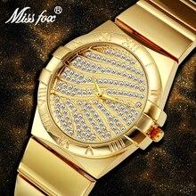 Miss Fox relojes de oro con números romanos para mujer, reloj con diamantes de marca famosa para mujer, reloj de acero, reloj de cuarzo con diamantes de imitación