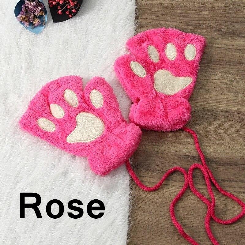 Зимние теплые перчатки женские Красивая кошачья лапа коготь плюшевые варежки короткие перчатки женские зимние перчатки без пальцев - Цвет: 6