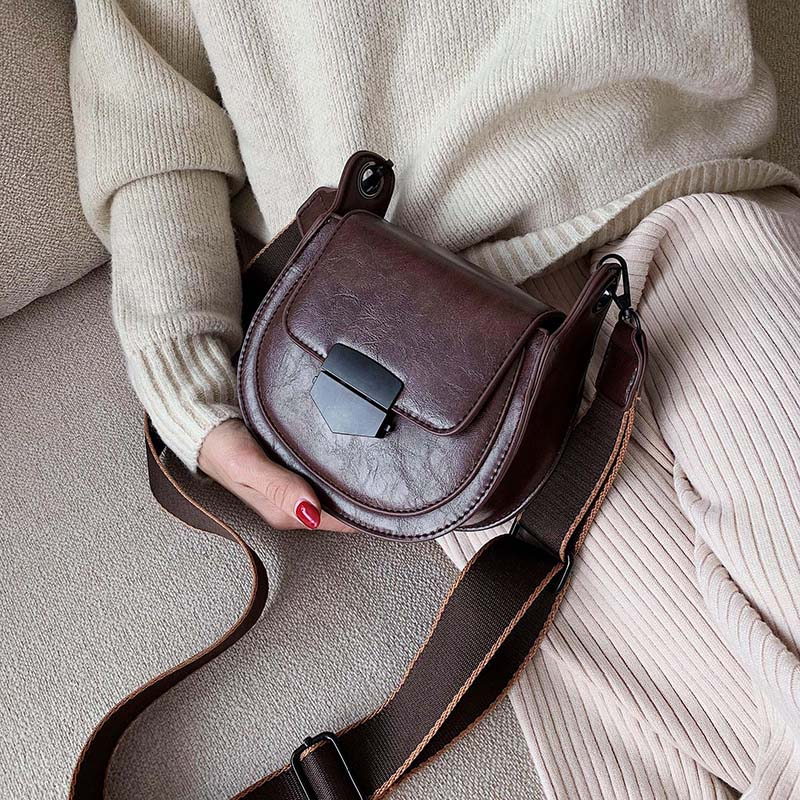 Mini Solid Color PU Leather Saddle Bags For Women 2019 Fashion Solid Crossbody Shoulder Messenger Bag Female Handbags