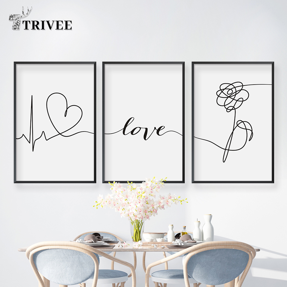 Waterproof Canvas Painting Minimalist Wall Art Posters Rose Flower Love Line Black And White Wall Pictures For Living Room Decor