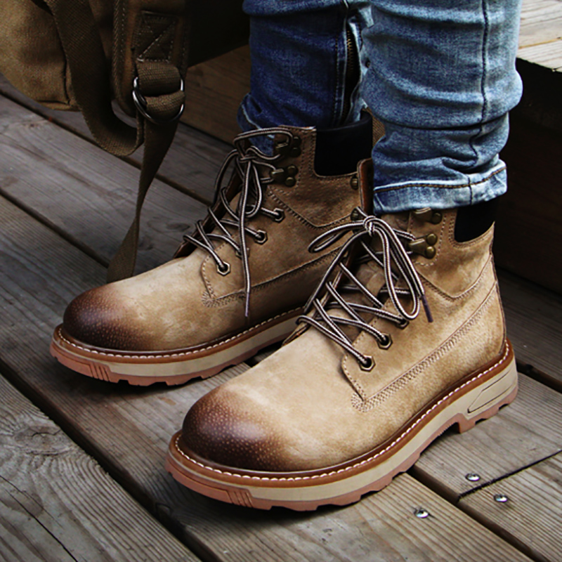 mens casual outdoors desert boots genuine leather tooling shoes cowboy ankle boot lace-up platform botas masculinas zapatos man