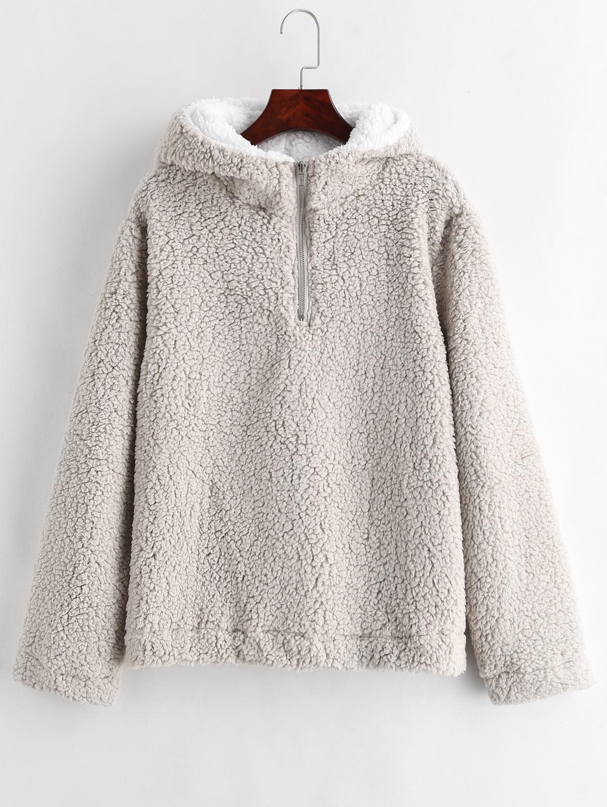 Women Winter Fluffy Fur Sweatshirt Hoodies Jumper Cardigan Hooded Tops Pullover