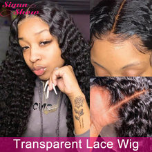 Siyun mostrar perucas de cabelo humano encaracolado onda profunda brasileira 30 Polegada 250 densidade preplucked hd peruca de renda transparente 13x4 peruca frontal do laço